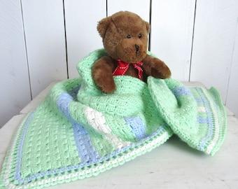 Baby Blanket Handmade Crochet Blanket Mint Green Blue White Stripe Shell Stitch Knit Stroller Blanket for Baby Boys 30 x 30 Inches