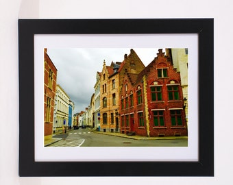Bruges Oldworld Europe Belgium Neighborhoods Poster Colorful picturesque roamtic city street view