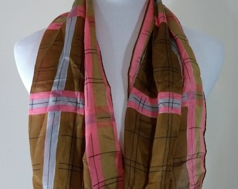 Vintage Vera Neumann Geometric Mod Retro Scarf, Pink, Brown, Rectangle