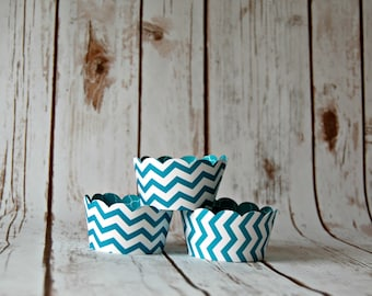 Aqua Cupcake Wrappers, Chevron Cupcake Decorations, Reversible Cake Wraps (set of 6)