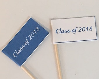 Printable Graduation Cupcake Flags - customize font and paper colors
