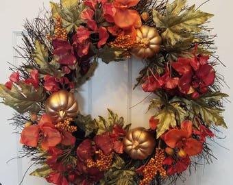 Fall wreath/ housewarming wreath/ door wreath/ holiday wreath