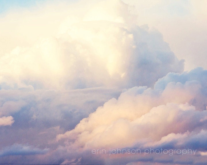 Paper Clouds Wall Decor : Landscape cloud photography pink decor blue nursery art