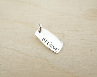 Sterling Silver Believe charm - Sterling Silver Pendant - Sterling Silver Word Charm - Sterling Silver Wholesale