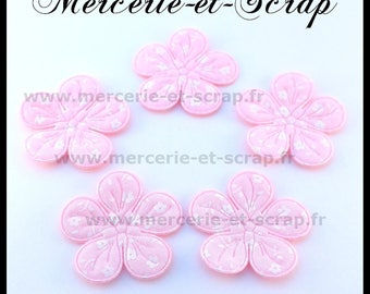 LOT 6 pink flower embellishment flowers white 33mm 5 petals