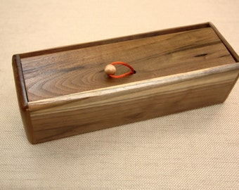 Wooden Walnut Clutch Handcrafted in Our Shop from a Single Walnut Board