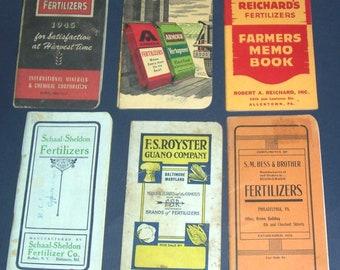 Lot of 8 vintage fertilizer company pocket notebooks