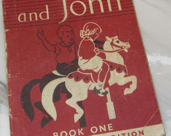 Vintage 1940s Children's Learn-to-Read Book - Janet and John Book One
