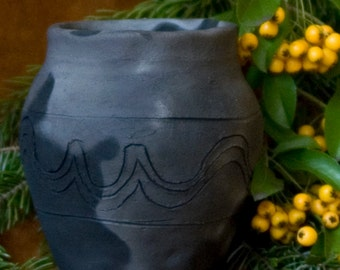 drinking vessel/ black ceramic/ handcrafted/ replica/ one of a kind