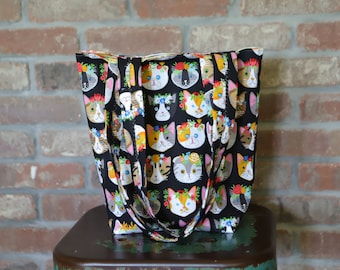 Floral Kitty Cat Tote Bag, Lined with Handles