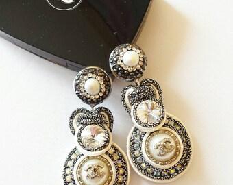 Soutache Ohrstecker  aus Knöpfe .Statement earrings. Wedding Dress.Evening jewelry.