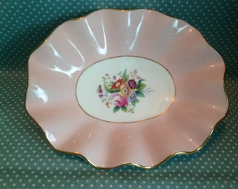 Antique Coalport pink and floral decorative scalloped edge dish. c1926. Reg no. 9719. - FREE UK POST.