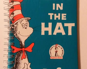 Dr. Seuss Cat In The Hat Recycled Children's Book Notebook use for Junk Journal, Inspirational Journal, Smash Book, Travel, Goal Setting