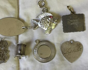 SALE Silver Charm Collection Destash Wholesale Lot Figural Whimsical Charms including Stove, Fish #1 Dad, Mom, Graduation