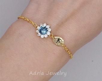 Initial Bracelet Sapphire Bridesmaids Bracelet September Birthstone Bracelet,Navy blue crystal Bracelet, Gift for her, Bridesmaid Gifts