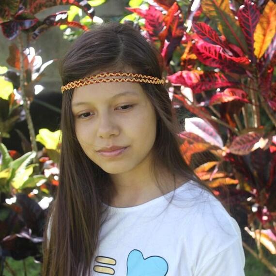 Bohemian Headband, Red Boho Headband, Adult Boho Headband, Gold Girl Headband, Forehead Headband, Halo Headband, Girls Headband
