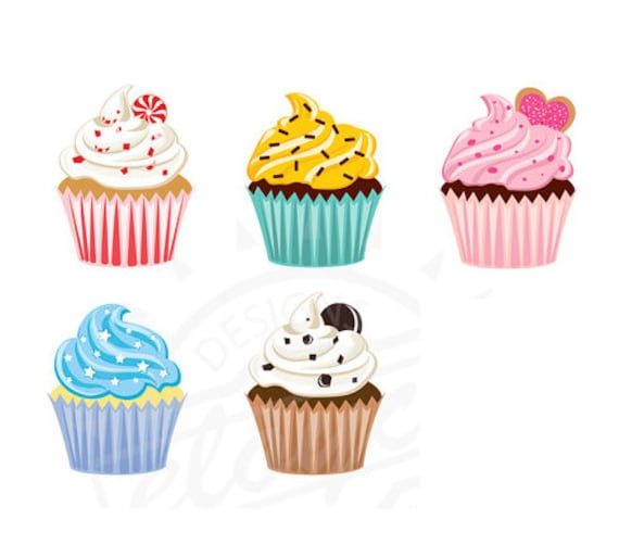 Cupcake Clipart Digital for scrapbooking stationery etc