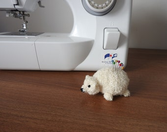 Hand knitted Polar Bear cub Pin Cushion Critter, Desk Toy, #OOAK