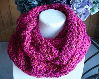 Bright Pink Cowl Scarf, Infinity Scarf, Crocheted Scarf, Winter Scarf