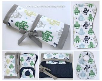Multi-Color Robots Travel Set Bib, Burp Cloth & Changing Pad / Baby Boy Robots Bib, Burp Cloth and Changing Pad Travel Set / Robots Bib Set