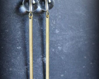 """""""The contortionist"""" minimalist earrings rock crystal"""