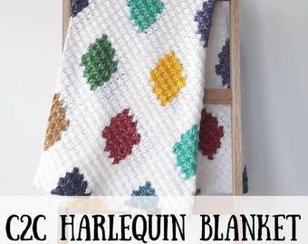 C2C harlequin deken, C2C haakpatroon, gehaakte deken haakpatroon, Corner 2 Corner haakpatroon, harlequin deken haakpatroon