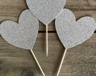 Heart Cupcake Topper, Silver Heart Cupcake Toppers, Dessert Toppers, Birthday Toppers, Baby Shower Toppers, Engagement Toppers, Wedding