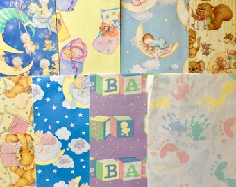 Lot of 8 Retro New Baby Wrapping Paper // Vintage 1980's 1990's Used/Opened Various Sizes