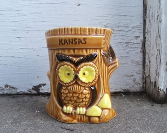 Kitschy Kansas Souvenir Ceramic Owl Coin Bank