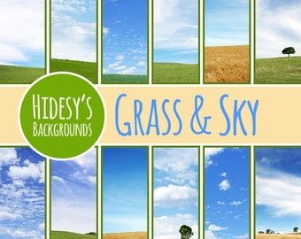 Grass and Sky Digital Paper // Landscapes Digital Scrapbooking Paper // Fields or Pastures Digital Scrapbook Paper