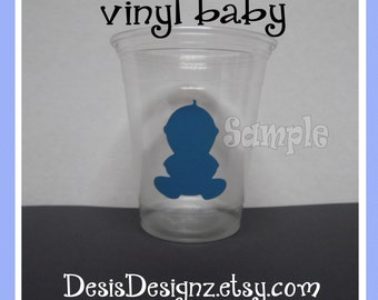 24 Baby shower Baby vinyl decals Boy baby shower decorations sprinkle party vinyl cup stickers Party cup vinyl baby stickers vynil decals