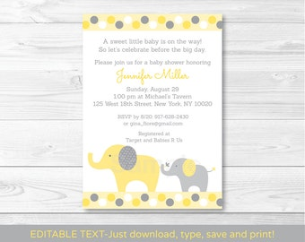 Yellow & Grey Elephant Baby Shower Invitation / Gender Neutral / INSTANT DOWNLOAD Editable PDF A289