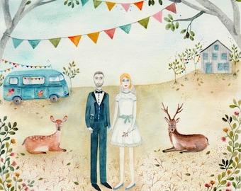 Portrait personnalisé, dessin, aquarelle, couple, famille, portrait de famille, mariage, invitation, faire-part, peinture personnalisée