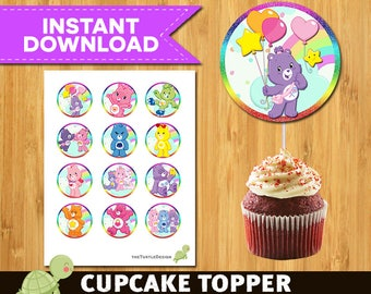 12 Care Bears Toppers -  Care Bears Package -  Care Bears Printable Party Circles