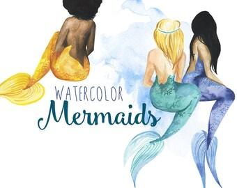 Watercolor Mermaid clipart, Mermaids clip art, Fantasy mermaid illustration, Mermaid art, Digital Clipart, Water