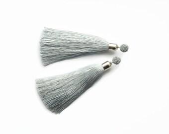 Silk Tassel earrings Gray earrings fringe Boho earrings gift for her Long earrings Oscar de la renta Statement earrings