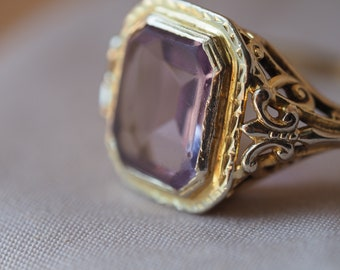 RESERVED RESERVED - Please do not purchase - Dreamy and romantic vintage 14kt yellow and white gold Amethyst ring