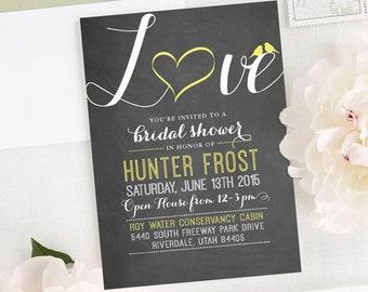 Chalkboard Lovebird Bridal Shower Invitation