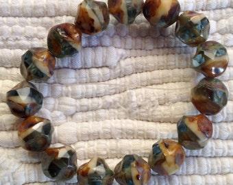 Czech Artisan 9mm Baroque Center Cut Picasso Beads