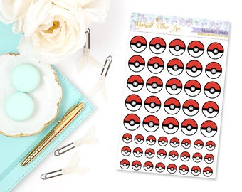 49 Pokeball Stickers | Perfect For Your Erin Condren Life Planner