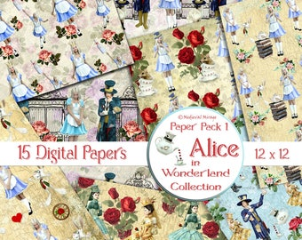 Alice in Wonderland Digital Paper Pack 1 Collection. White Rabbit. Mad Hatter. Tea Party. Scrapbook. Junk Journal Cards. Commercial use ok.