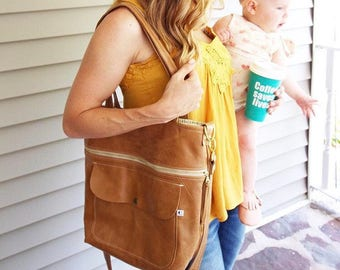 Brown Leather Tote Bag, Tote Bag, Leather Tote, Leather Tote Bag, Leather Work Tote, Diaper Bag, School Tote Bag, Totes for Women