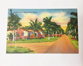 Sunset Island of Miami Beach, Florida. Biscayne Bay postcard circa 1930s, number 354. Unused, genuine Miami ephemera.