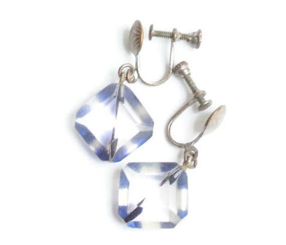 Two Color Lucite Dangle Earrings Clear and Blue Prism Screw Back Art Deco Earrings