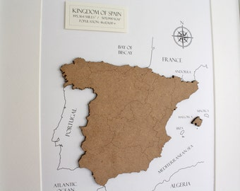 Custom Map of Spain, Wood Cut Map of Spain, Spain Map, Laser Cut Map, Custom Spain Map, Map Wall Art, Custom Map, Home Decor, 8x10 or A4