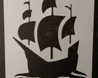 Mayflower Boat Ship On The Sea Sailing Thanksgiving Custom Stencil FAST FREE SHIPPING