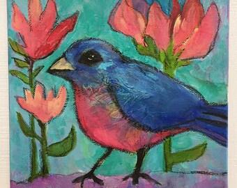 Bluebird Over Collage, Mixed Media Bird Canvas