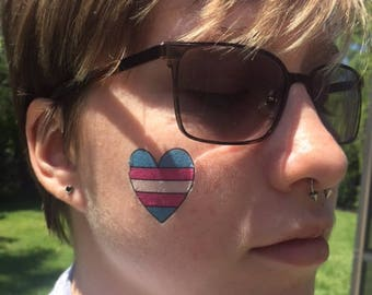 10-PACK - Transgender Flag Heart Temporary Tattoo - Small