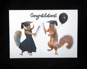 Grad Squirrels Printable Graduation Card, Digital Squirrel Congratulations Card