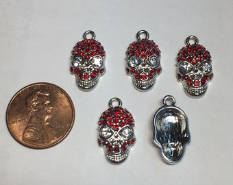 1 - Set of 5 Stainless Steel Skull Charms